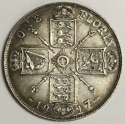 1917 UK Great Britain One Florin Silver Coin Lightly Circulated (L470)