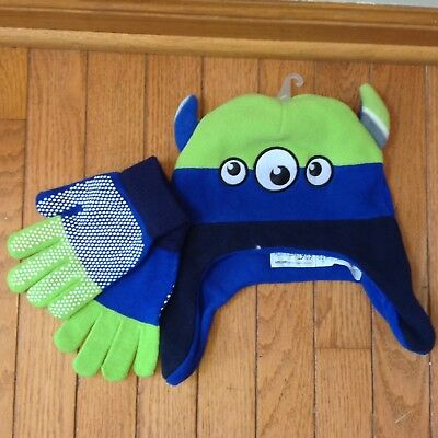 Boys Winter hat & mittens, size 2T/4T 2/4 Years  Monster Children Place.
