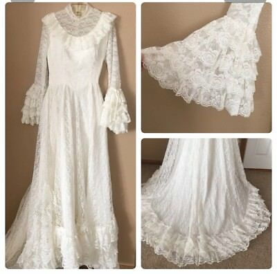 "Vtg 60s 70s Victorian Wedding Gown Dress train ivory 24"" tiered lace bell sleeve"