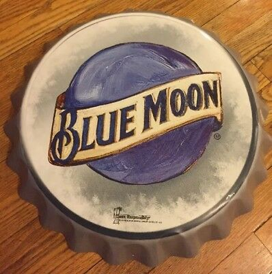 "Blue Moon Beer Brewing Bottle Cap Style Metal Sign 18.5"" Man Cave Bar Pub Promo"