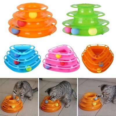 AU Pet Amusement Plate Trilaminar Toy Cat Kitty Crazy Ball Disk Interactive Toys