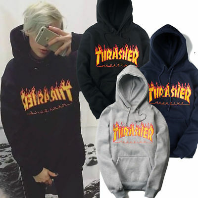 Thrasher Magazine Flame Logo Hooded Sweatshirt Hoodie Rare Offical Stockist New