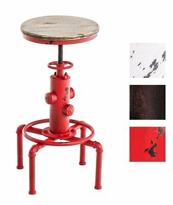Industrial Bar Stool Antique Swivel Chair Metal Wood Seat Height Adjustable Red