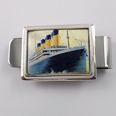 Enamel Vintage Style Rms Titanic Ship Money Clip 925 Solid Sterling Silver