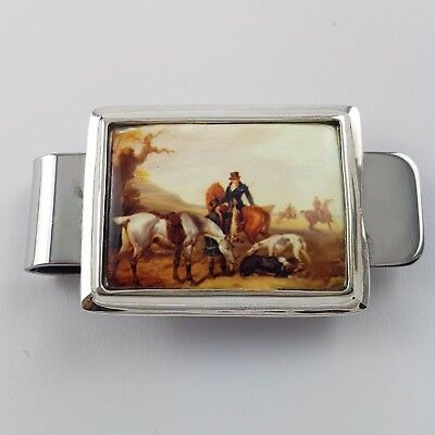 Enamel Victorian Equestrian Hunting Horse Money Clip 925 Solid Sterling Silver