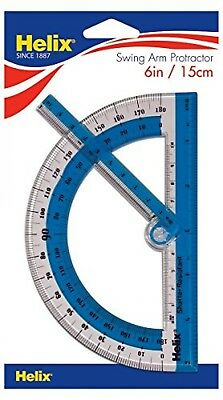 "Helix 180 Shatter Resistant Swing Arm Protractor 6"" / 15cm"
