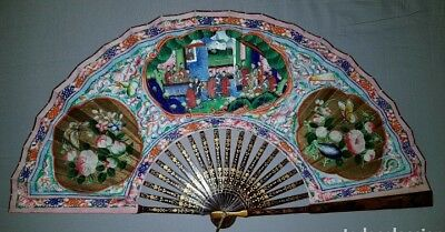 Antique handpainted chinese lacquer fan 1000 faces amazing
