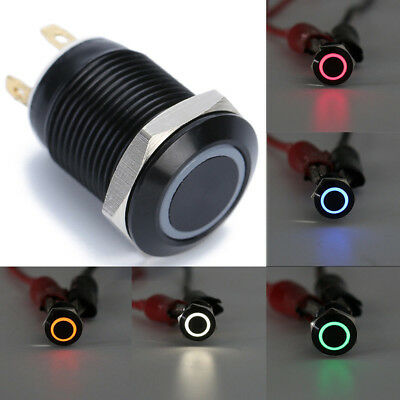 12mm 12V LED Power Push Button Switch Momentary Latching Metal Waterproof
