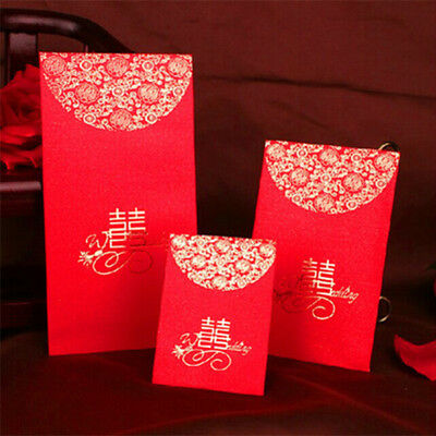 10PCS Lucky Money Envelope Red Happiness Chinese Red Envelope Packet