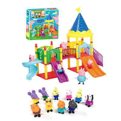 NEW Peppa Pig Big Sliding Amusement Park with 14 Friends Figures Kids Toys Gift