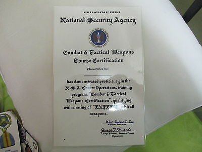 Nsa Covert Operations~Combat & Tactical Weapons Course Certificate.