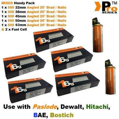 32mm+38mm+45mm+50mm+64mm 16g ANGLED Nails 2500 nails + 2 x Fuel Cell for Paslode