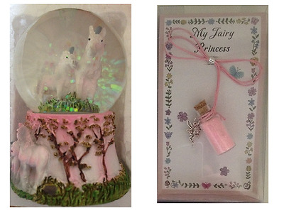 1 x SNOWGLOBE Waterball With UNICORNS Inside & 1 x FAIRY DUST Necklace PINK GIFT