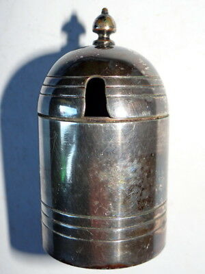 Silver Plated Mustard pot With Heavy Glass Insert.