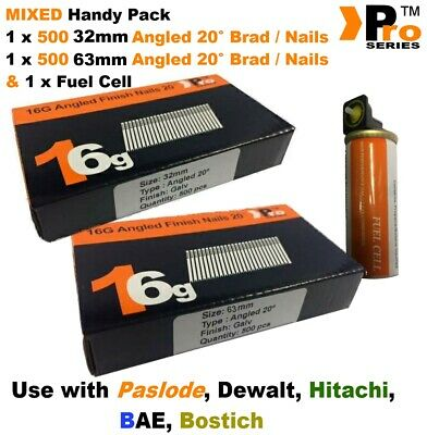32mm + 64mm Mixed 16g ANGLED Nails, 2 x 500 pack + 1 x Fuel Cell for Paslode, A2