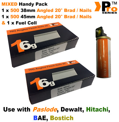 38mm + 45mm Mixed 16g ANGLED Nails, 2 x 500 pack + 1 x Fuel Cell for Paslode, B1