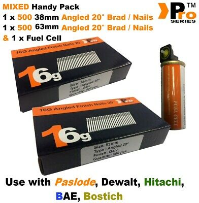 38mm + 63mm Mixed 16g ANGLED Nails, 2 x 500 pack + 1 x Fuel Cell for Paslode, B1