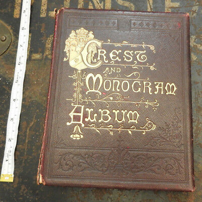 A 1913 Crest And Monogram Decoupage Album Book Military Crests Regiments (4985)