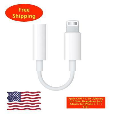 Apple OEM A1749 Lightning to 3.5mm Headphone Jack Adapter for iPhone 7/7+ / 8/8+