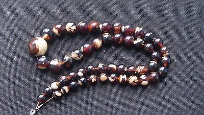 78 Grams Round Beads Necklace Indonesian red white Amber 11 mm - 25 mm 29 inch
