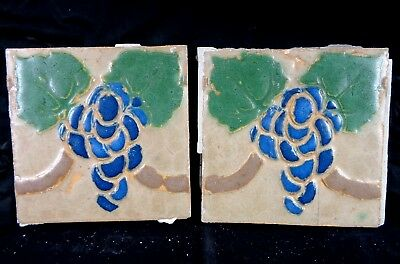 (2) VERY RARE * Grueby Tiles * (4 COLOR) w/BLUE GRAPES * 6x6 * w/MAKERS MARKS
