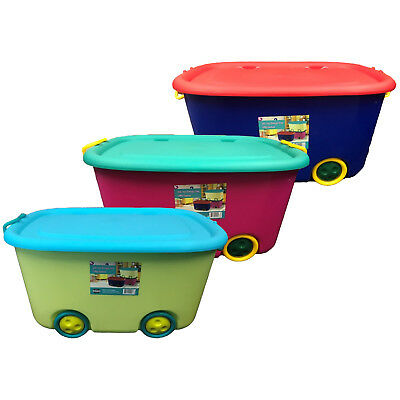 Large Plastic Stackable Kids Toy Storage Box Container W/ Lid Handle U0026  Wheels