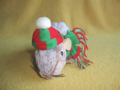 Red & Green Striped Winter Cap with Matching Scarf for Rat from Petrats