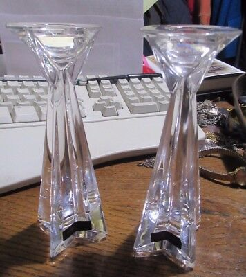 Pair of Thomas Webb finest crystal icicles star candle stick holders,  small .