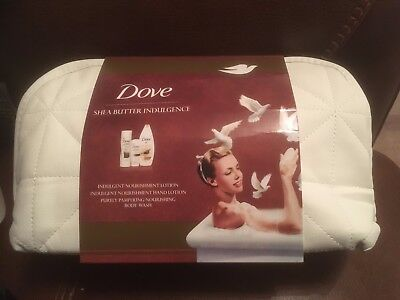NEW 575ml Dove shea butter wash bag set, body lotion, body wash & hand lotion