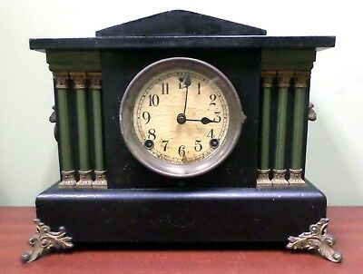 Antique SESSIONS Black Mantle Clock 6 Pillars / Columns Brass Feet Lions NO KEY