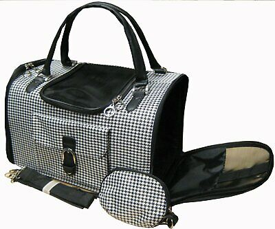 NEW Pet Cat/Dog Soft Hounds-tooth Travel Carrier/Tote/Shoulder/Purse-358