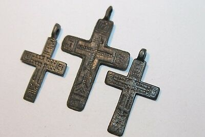Ancient Russian Bronze Cross! XVII-XVIII Century! (D217)