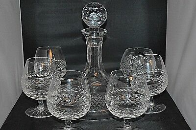 GALWAY Crystal Ships Decanter & Six Brandy Glasses Ireland Leah Pattern