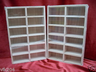 2 X NEW  PLAIN  WOODEN TRAY 12 REMOVABLE COMPARTMENTS  DECOUPAGE 30*20*5cm CRAFT
