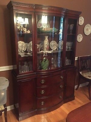 Mahogany Duncan Phyfe Curved Glass Breakfront China Cabinet by Drexel
