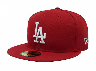 New Era 59Fifty Hat MLB Los Angeles Dodgers Mens Adults Size Red Fitted 5950 Cap