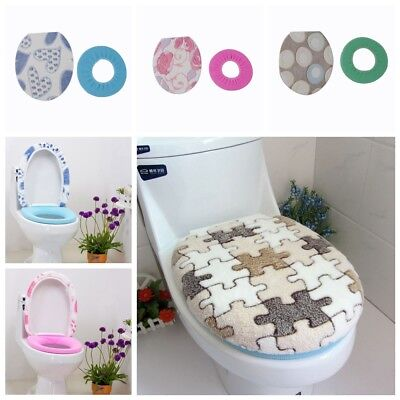 2pc/Set Mat+Lid Cover Bathroom Warmer Toilet Closestool Washable Seat Cover Pads