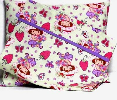 Strawberry Shortcake Toddler Pillow and Pillowcase Green Cotton ST2 New Handmade