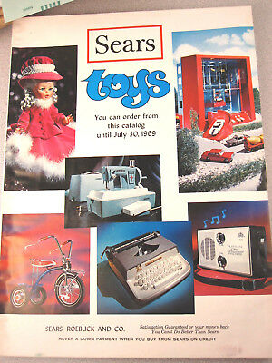 Vtg 1969 SEARS Toy Catalog Supplement w/Brown paper cover/inserts Christmas RaRe