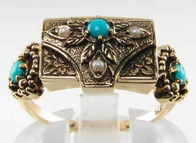 Unusual 9Ct Gold Rich Turquoise & Pearl Box Locket Poison Ring