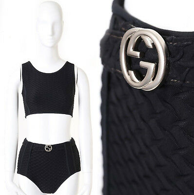 00f9e2626c2 GUCCI TOM FORD Vintage black textured 2-pc bikini GG belted short swimsuit  set S