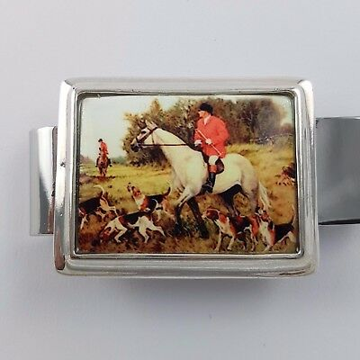 Enamel Vintage Style Equestrian Hunting Money Clip 925 Solid Sterling Silver