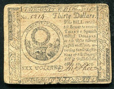 Cc-10 May 10, 1775 $30 Thirty Dollars Continental Currency Note