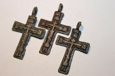 Ancient Russian Bronze Cross! XVII-XVIII Century! (D271)