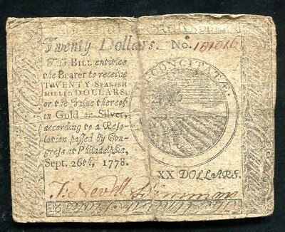 Cc-82 September 26, 1778 $20 Twenty Dollars Continental Currency Note
