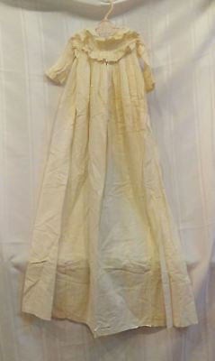 c1920 vintage christening gown/ baby dress with lace collar and cuffs, off white