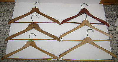 6 Vintage Wood Metal All In One Hangers Suit Jacket Pants 17""