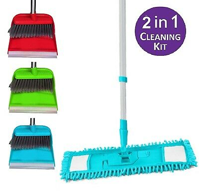 Extendable Microfibre Mop Cleaner Sweeper with Long Handle Dustpan and Brush Set