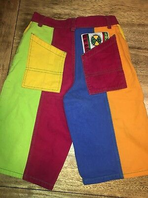 "vintage 90's CROSS COLOURS color block shorts 9/10 29"" ONLY 1 ON EBAY MINT cndt"
