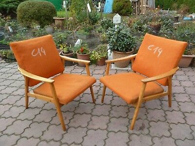 C14 RETRO VINTAGE PAIR OF CZECH ARM CHAIRS produced in 1960th